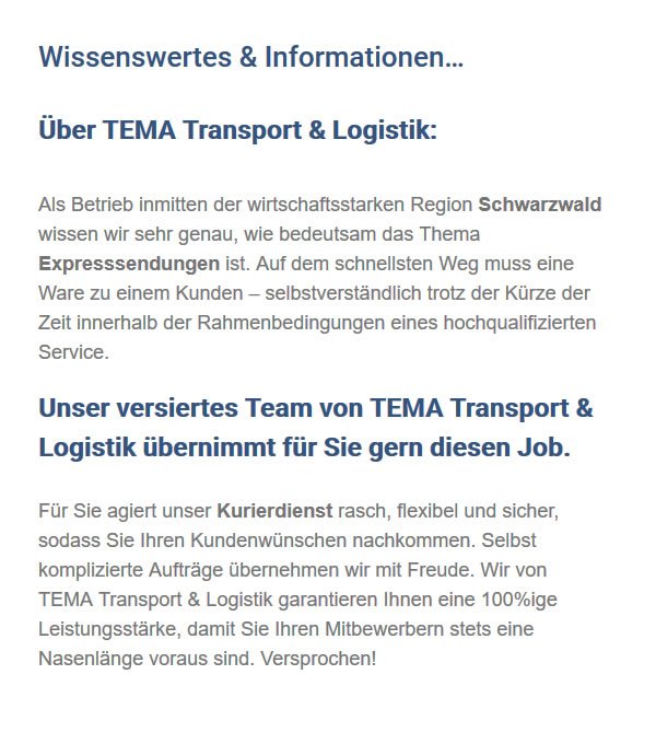 Transportfirma in 78183 Hüfingen